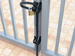 Drop bolt for swing gate